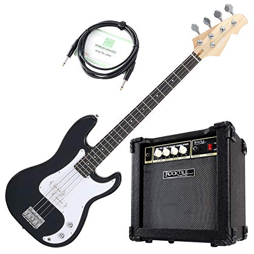 Rocktile Puncher Preci Style E-Bass Jaco Set - 4-saitige Bassgitarre - geteilter Tonabnehmer - 22 Bünde - Combo-Verstärker mit 15 Watt - 3m langes Kabel - schwarz
