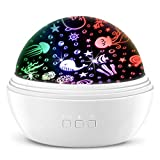 Star Projectors / Marine Life Projection Lamp for Kids, MOKOQI 360 Rotating Colorful Baby Projector Night Lamp for Boys and Girls Creative Gifts to Satisfy Curiosity and Imagination (White)
