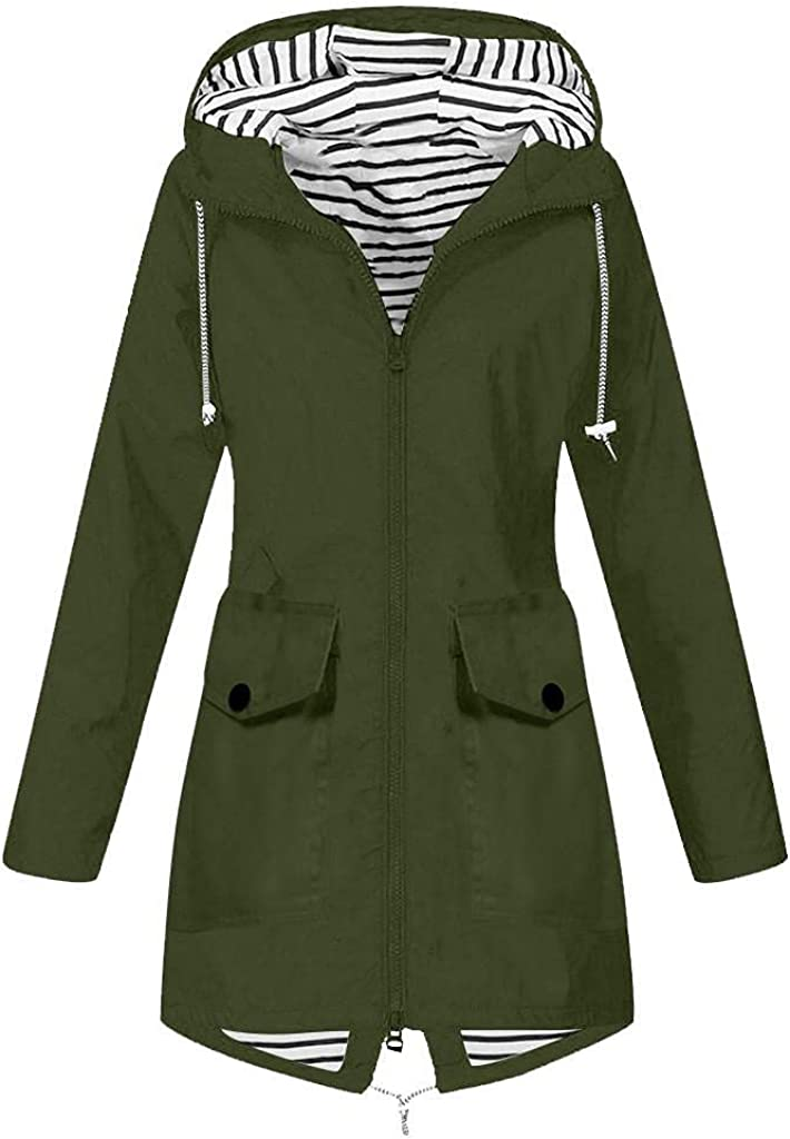 Waterproof Lightweight Rain Jacket for Womens Active Outdoor Hooded Raincoat Windbreaker Long Utility Anorak