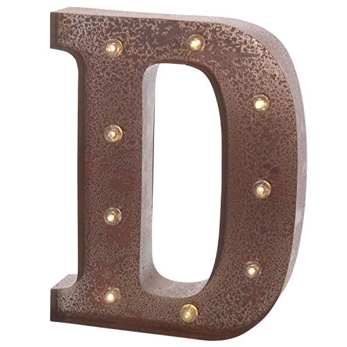 """Barnyard Designs Metal Marquee Letter D Light Up Wall Initial Wedding, Home and Bar Decoration 12"""" (Rust)"""