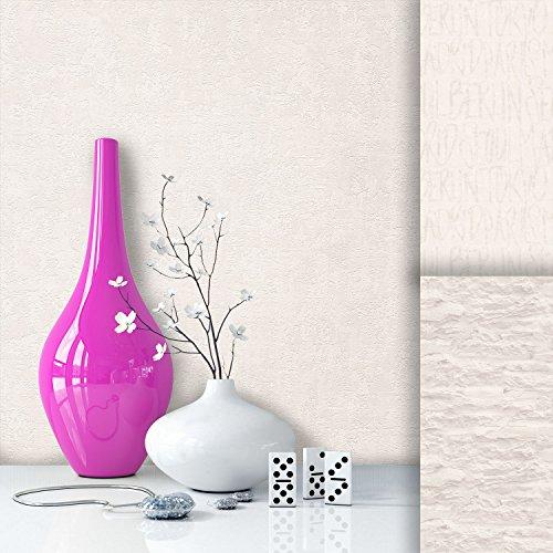 Tapete Vliestapete Uni Weiß Creme Edel, schönes modernes Design mit Luxus Effekt, moderne Optik für Wohnzimmer, Schlafzimmer, Flur oder Küche inkl.Newroom Tapezier Profibroschüre mit super Tipps!