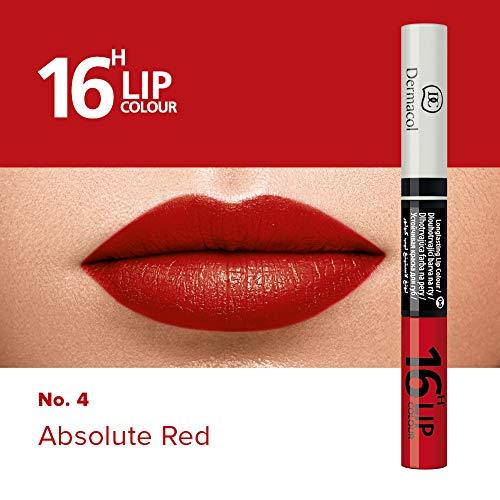 Dermacol 2-in-1 langanhaltende Lippenfarbe & Gloss Kussecht und ohne Lippenstiftflecken - Brillanter Lippenstift mit kräftiger Farbe - Lipstick 16H, Nr. 4 Absolut-Rot, 7,1 ml