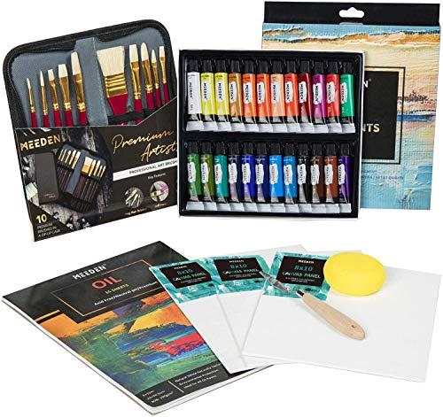 MEEDEN 40 Pcs Oil Painting Kit with 24x12ML Oil Paint Set, 10 Oil...