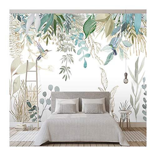 HYCSP Foto-Tapeten-Moderne Handbemalte Tropische Pflanzenblätter Blumen und Vögel Murals Wohnzimmer Schlafzimmer wasserdichte Wand 1 Gemälde □ (Color : White)