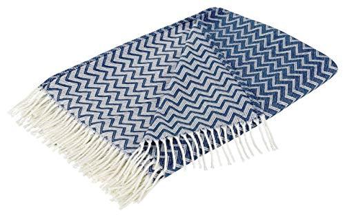 Moon Wohndecke Zick-Zack Muster mit Fransen Tagesdecke leicht und kuschelig 150x200 (weiß/blau)