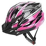JBM Casco de bicicleta para adultos especializado para hombres y mujeres, protección de seguridad, certificado CE, ajustable, ligero, con rayas reflectantes y extracción (rosa, negro, grande)