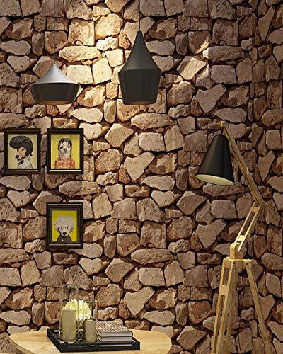 Papel Pintado Decorativo Piedra Papel Pintado 0,53 x 9.5 m efecto 3D No Autoadhesivo Simulación Wallpaper Sala de Estudio Sala de Estar Cafe,MarróN