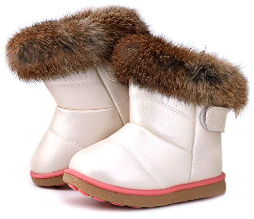 Femizee Toddler Girls Fully Fur Lined Waterproof Winter Snow Boots,White 1934 CN27