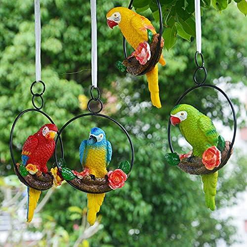 JZENZERO Tropical Garden Statue Perching Complete Free Dedication Shipping Simulation Parrot Birds