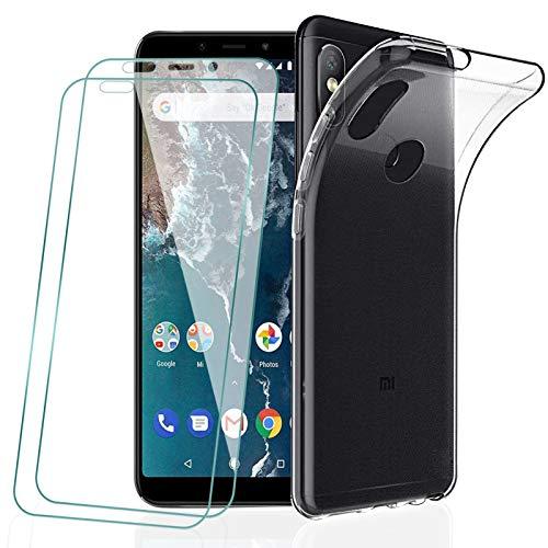 KEEPXYZ Funda para Xiaomi Mi A2 / Mi 6X + 2 Pcs Protector de Pantalla para Xiaomi Mi A2 / Mi 6X Cristal Templado, Flexible Suave Silicona Transparente TPU Carcasa + Vidrio Templado para Xiaomi Mi A2