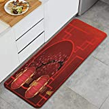 RUBEITA Alfombra Lavable de Cocina,Chinesische Art Neujahr Red Lantern Alte Sche,Alfombra Antideslizante,Suave y súper Absorbente,para Puerta de Cocina,baño,47.2'x17.7'