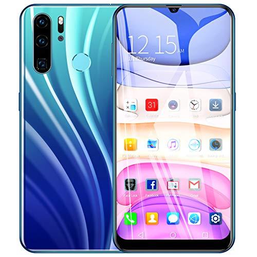 Hyuduo1 P40PRO Smartphone Desbloqueado, 6.3in 1280x720 FHD Waterdrop Screen, teléfono Celular Android Desbloqueado, 1GB + 16GB, 2MP + 8MP, Dual Cards Dual Standby Smartphone(Azul)