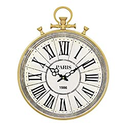 Vosarea Vintage Retro Clocks Pocket Watch Style Wall Hanging Clock Large Wall Clock for Living Room Kitchen Home Decoration(Gold,Without Battery)
