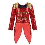 TiaoBug Disfraz Niño para Circo Carnaval Halloween Capa Lentejuelas Manga Larga Disfraz Maestro de Ceremonias de Actuación Escolar Infántil Niñas Rojo 6 Años