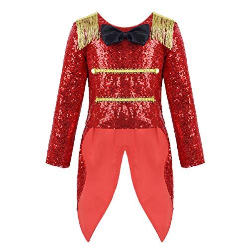 iixpin Disfraz Infantil Domadora de Circo Abrigo de Esmoquin Abrigo de Circus Brillante con Lentejuelas Disfraz Fiesta Halloween Carnaval 3-8 Años Rojo 8 Años