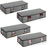Extra-Large Under Bed Storage Bags[4pack] Thickened 3 Ply Fabric Under Bed Storage Containers with Reinforced Handles Strong Zipper Breathable Zippered Organizer For Bedrooms,With Clear Window (Grey)