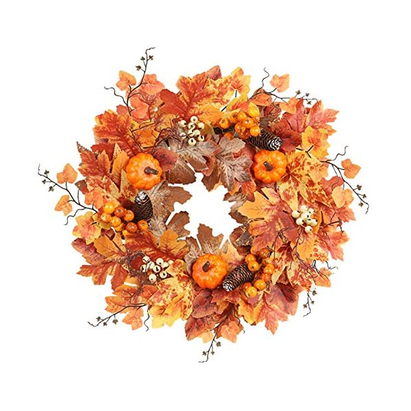 N/D Autumn Front Door Wreath, 20 Inch Fall Wreath, Christmas Wreath with Maple Leaf and White Fruits Tree Root, Halloween Easter Wreath, Ideal for Indoor Outdoor Decoration