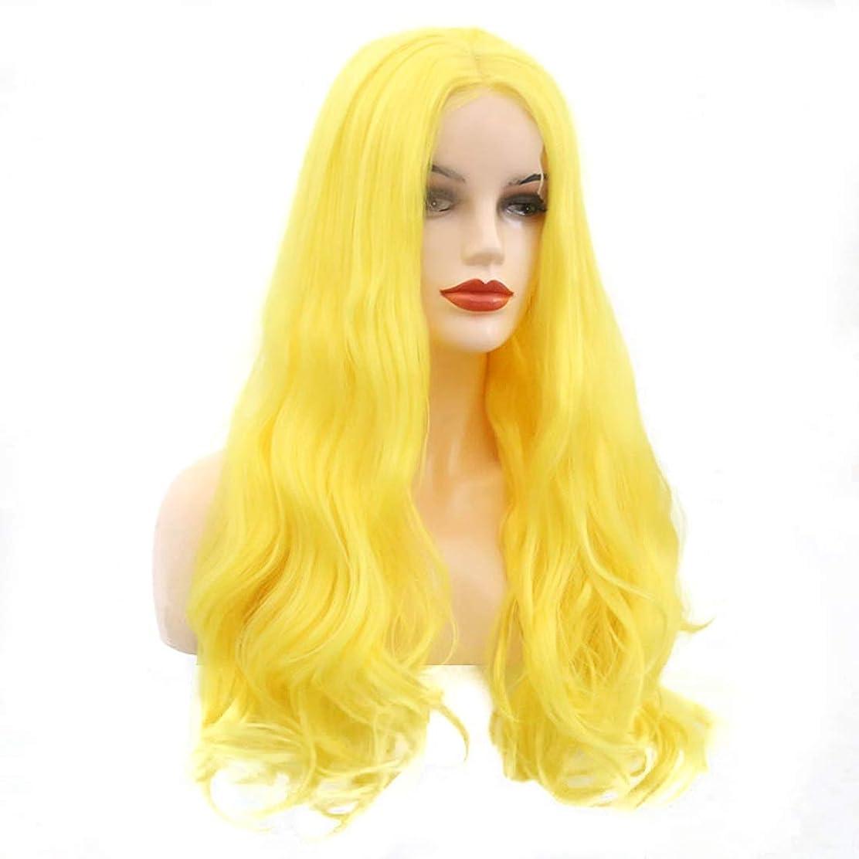 手のひらプロテスタント荒れ地Koloeplf ウィッグ 仮装 ハロウィン 前レース付き 長巻き髪 ブライトイ 金色 ロングヘア (サイズ : 18 inches)