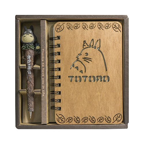 My Neighbor Totoro Vintage Wooden Cover Notebook by Guritta Journals Diary Sketchbook Study Spiral Writing Notebook Wonderful Creative Christmas Kids Gift with Cute Anime Pen Set Dark Wood Hardcover
