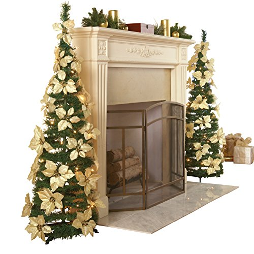 Lighted Holiday Poinsettia Pull-Up Christmas Tree with White Poinsettias, White Lights and Greenery