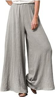 Women's Casual Elastic Waist Comfy Cotton Linen Flowy Wide Leg Palazzo Pants Loose Fit Trousers