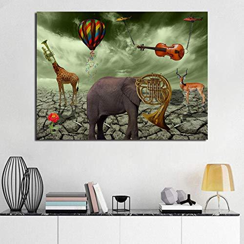 Chihie Elephant Deer Trompete Leinwand Poster Drucke Wandkunst Gemälde Dekoratives Bild Wohnzimmer Home Decoration 50x60cm Kein Rahmen