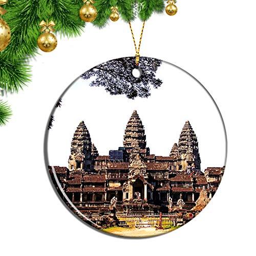 Hqiyaols Ornament Kambodscha Angkor Wat SIEM Reap Weihnachten Ornamente Hängende Verzierung Keramik Souvenir Stadt Reise Geschenk Baum Tür Fenster Decke Zierschmuck Deko