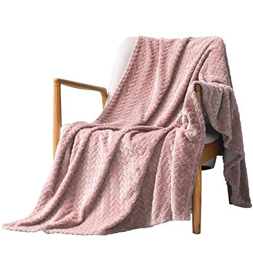 Exclusivo Mezcla Large Flannel Fleece Throw Blanket, Jacquard Weave Leaves Pattern (50
