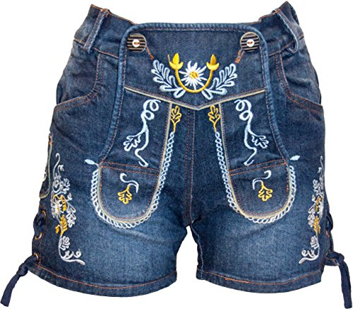 Almwerk Damen Trachten-Hose Jeans Lederhose kurz Modell Gina in blau und schwarz neu, Farbe:Blau, Größe:38