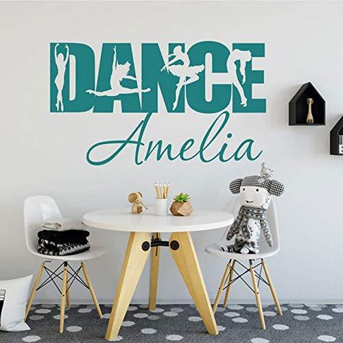 HNXDP Diseño creativo DANCE Text Ballet Bailarina personalizada Vinilo Interior Art Decoración para el hogar Calcomanías para habitaciones de chicas Estudio de baile Mural42x24cm