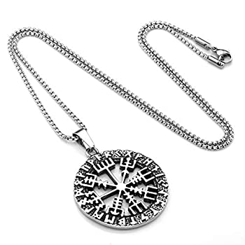 PiercingJ Mens Stainless Steel Viking Odin s Symbol Of Norse Runic Pendant Vegvisir Compass Talisman Pendant Helmet Horror Protection Necklaces 24 Inch