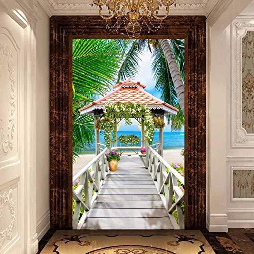 Zxdcd Aangepaste 3D Foto Behang Houten Paviljoen Zeezicht Kokosnoot Bomen Strand Woonkamer Entree Achtergrond 3D Muur Behang 450x300cm