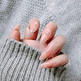 CSCH Uñas postizas 24 unids/set de puntas de uñas de espada largas y cortas de moda rosa con decoración de diamantes para niñas y niñas uñas falsas