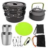 YSCYLY Set De Cocina para Camping,11 PCS para 2-3 Personas, Juego de Cubiertos de Taza de Tetera con Olla, Tabla de Cortar,para Utensilios De Cocina para Acampar Al Aire Libre, Livianos Y Fuertes