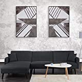 Futon Sleeper Sofa Bed-Couch Convertible Futon Sofa Sectional with Chaise, (Sofa to Bed Feature) Modern L-Shaped Lounger Sectional Sofa & Fully Reclining Chaise, Dark Grey