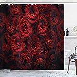 N / A Hochwertiger dunkelroter Duschvorhang Bild von roten Rosen mit Wassertropfen Blühender Strauß der Liebe & Leidenschaft Stoff Stoff Badezimmer-B180cmxH200cm