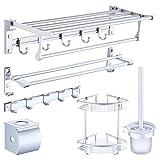 Ljf - Toallero de Aluminio para baño, 6 Unidades