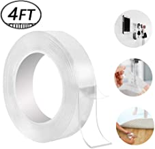 Washable Adhesive Tape, Hompie 4 FT Traceless Reusable Clear Double Sided Anti-Slip Gel Pads,Removable Sticky Transparent Strips Grip for Glass, Metal, Kitchen Cabinets or Tile -1.2m