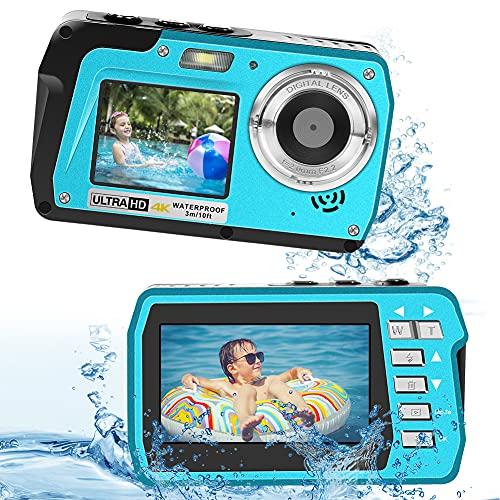 Underwater Camera 4K Video Waterproof Digital Camera 18X...