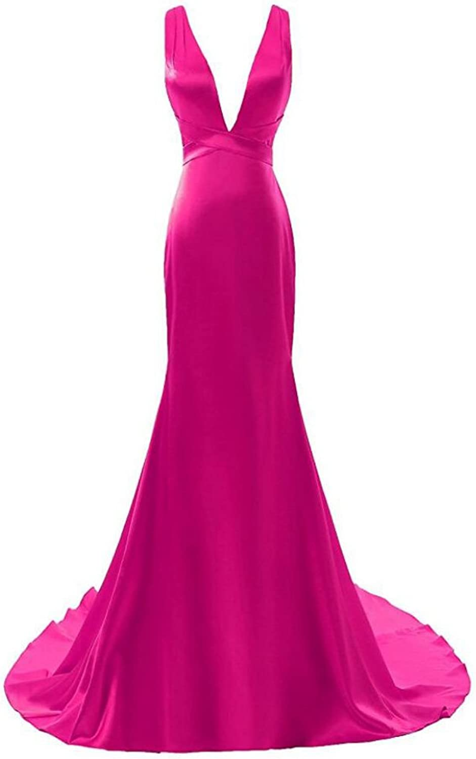 AK Beauty Women's Plunging Neckline Mermiad Prom Gown Long Evening Formal Dresses