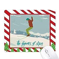 スキースキーボードの冬のスポーツのイラスト ゴムクリスマスキャンディマウスパッド
