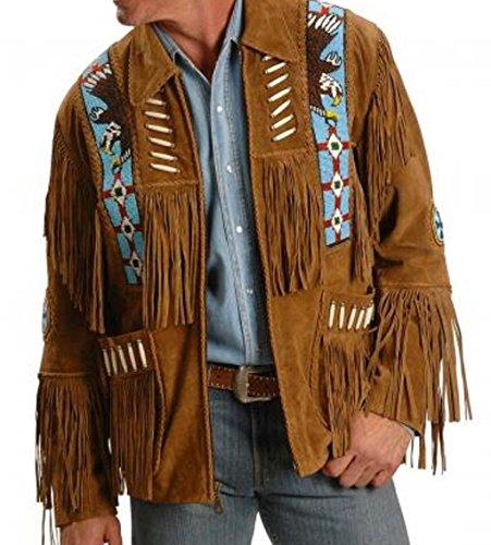 Vipconnection Western Cowboy - Chaqueta de Piel de Ante con Flecos para Hombre - Marrón - M - Pecho 107 cm