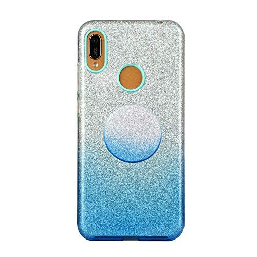 Nadoli für Huawei Y6P Gradient Glitzer Hülle,3 Schicht Glänzende Stoßfest Silikon Stoßdämpfung Transparent Hart Hybride Dünn Glitzer Schutzhülle Handyhülle mit Ständer