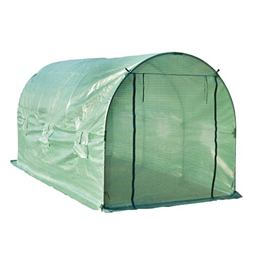 Photo of Outsunny 4 x 2 x 1.9 M Greenhouse Walk-in Polytunnel Outdoor Garden Flower Vegetable Planter Steel Frame w/Zipped Door