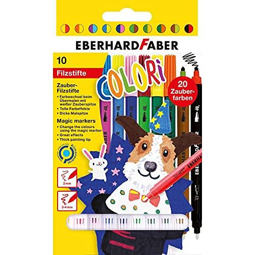 Eberhard Faber 551010 - Colori Zauber-Filzstifte in 10 Farben, mit dicker Mal- und weißer Zauberspitze, auswaschbar, im Kartonetui, zum Verzieren, Zeichnen, Basteln und Schreiben