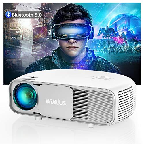 Proyector, WiMiUS 7000 Lúmenes Proyector Bluetooth Full HD 1920x1080P Vídeoproyector Soporta 4K Proyector Cine en Casa, 100,000H 300 '' Proyector LED para TV Stick, PS4, PC