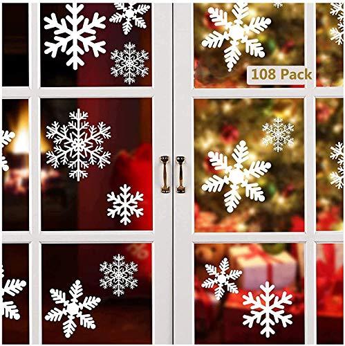 LCW-Direct 108 Fensterdeko Schneeflocken Schneeflocken Fensterbilder Abnehmbare Fensterdeko Statisch Haftende PVC Aufkleber für Weihnachts-Fenster Dekoration, Türen