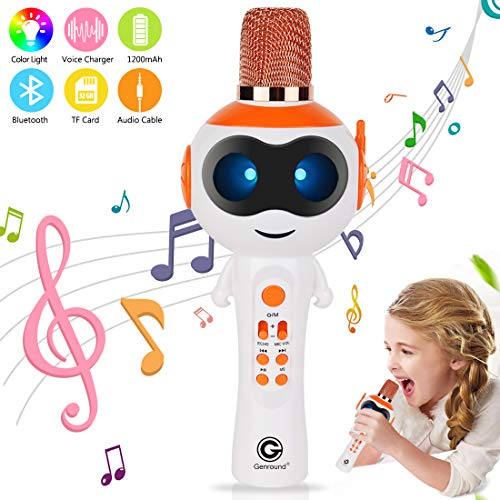 Genround Wireless Bluetooth Karaoke Mikrofon mit steuerbaren LED-Leuchten Magic Voice Echo, tragbare 3-in-1 Handheld Karaoke Mikrofon Lautsprechermaschine Kindergeburtstag