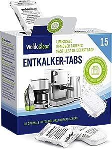 Descalcificador Cafetera Pastillas de descalcificación - 15x 16g Tabletas para máquina de café, Compatible con marcas Delonghi, Dolce Gusto, Nespresso, Seaco, Krups, Senseo