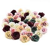 Azxu Fiori di seta in grosso fiori finti fiore di seta dalia rosa fiore fiore fiore artificiale testa decorazione matrimonio 30 pezzi 3,5 cm